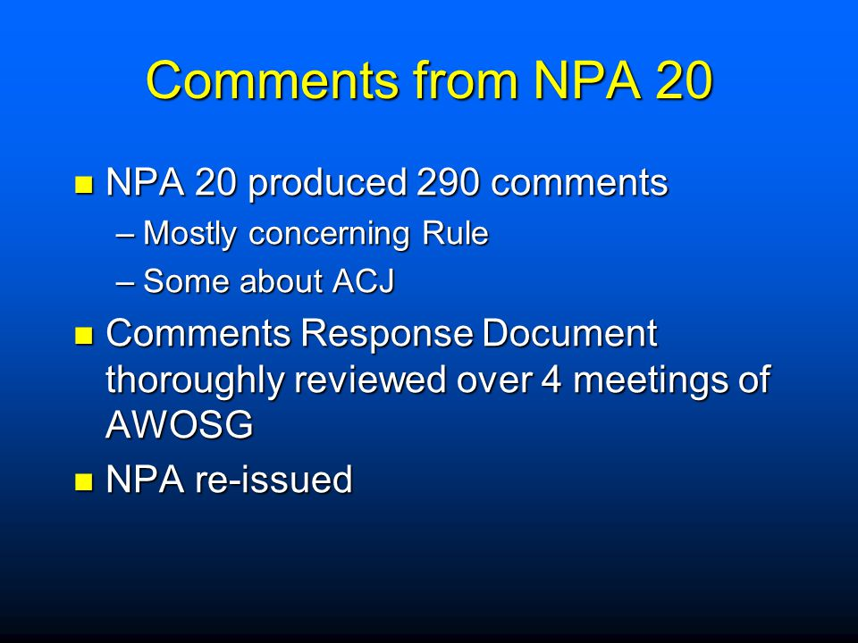 Comments from NPA 20 NPA 20 produced 290 comments