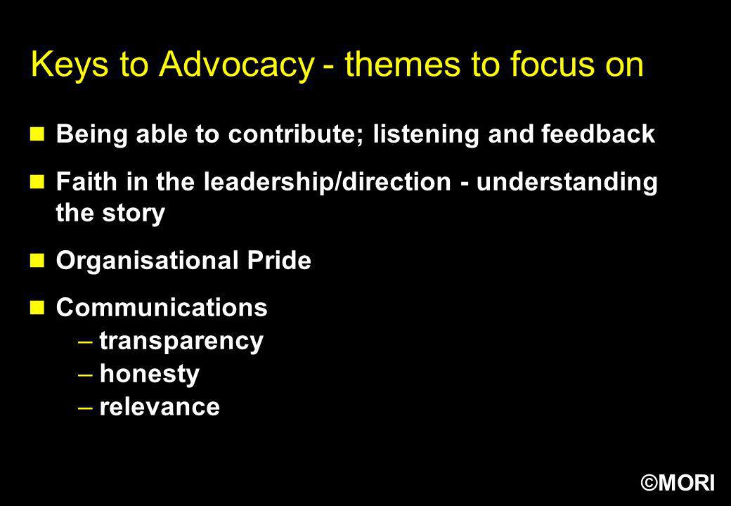 Keys to Advocacy - themes to focus on
