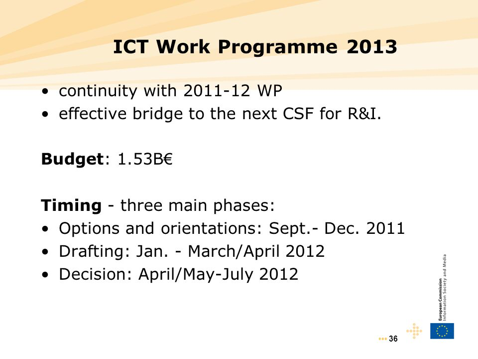 ICT Work Programme 2013 continuity with 2011-12 WP