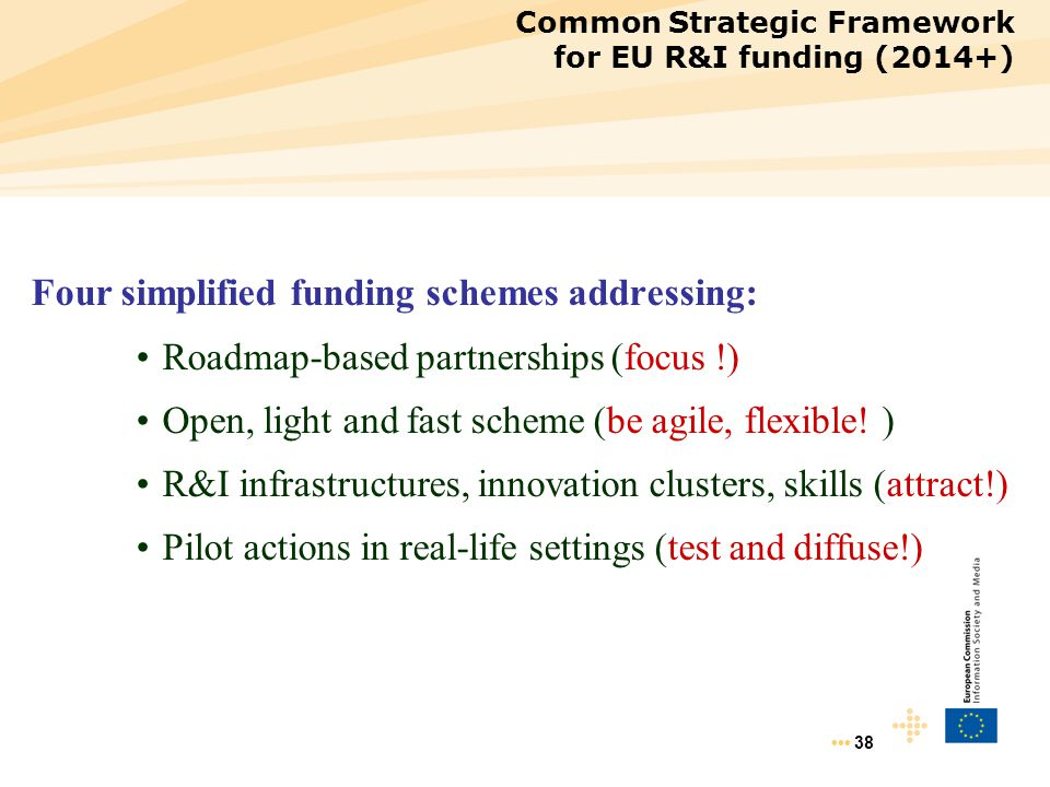 Four simplified funding schemes addressing: