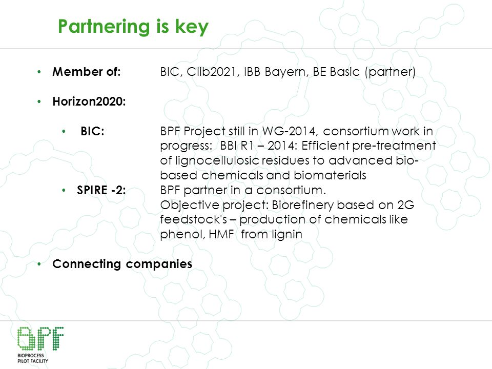 Partnering is key Member of: BIC, Clib2021, IBB Bayern, BE Basic (partner) Horizon2020: