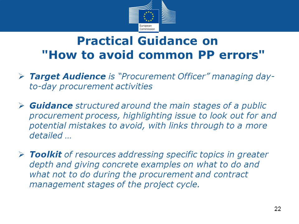 Practical Guidance on How to avoid common PP errors