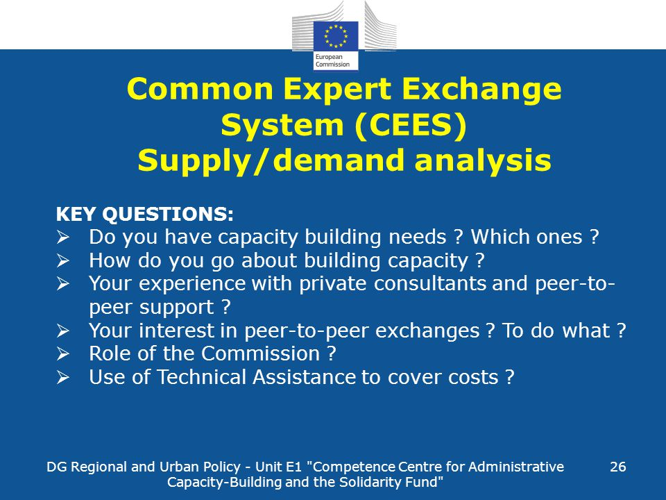 Common Expert Exchange System (CEES) Supply/demand analysis