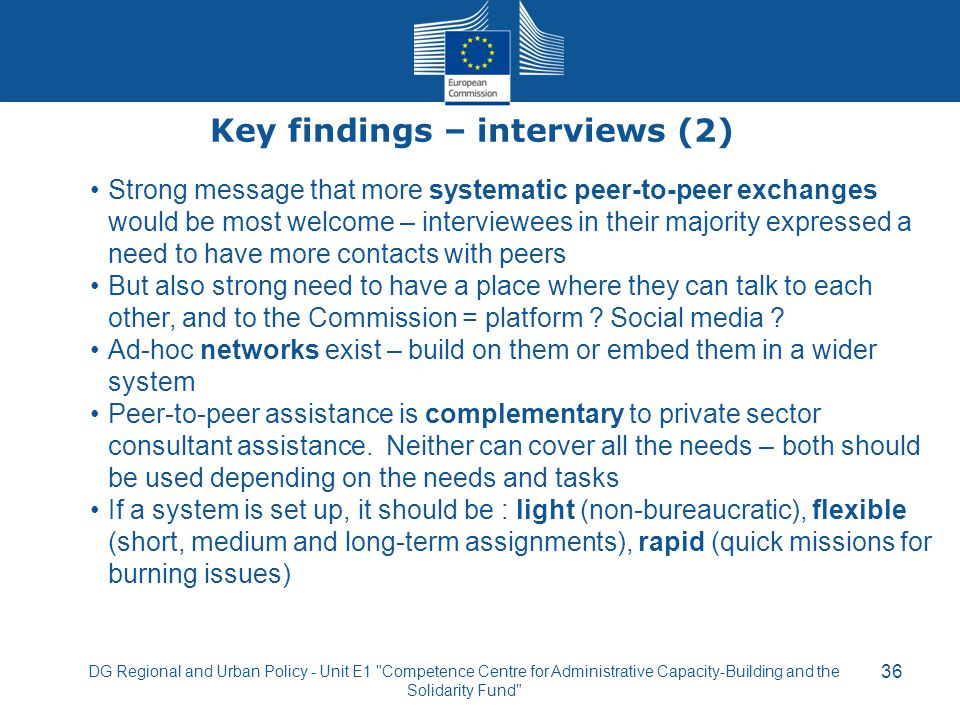 Key findings – interviews (2)