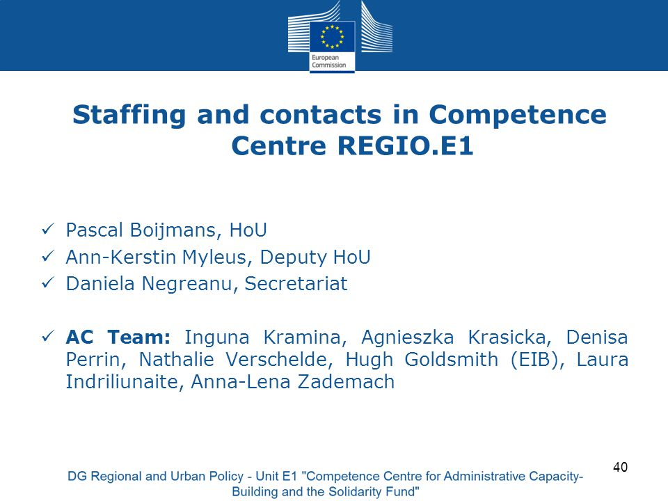 Staffing and contacts in Competence Centre REGIO.E1