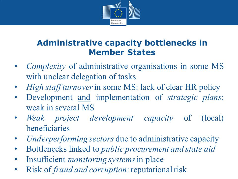 Administrative capacity bottlenecks in Member States