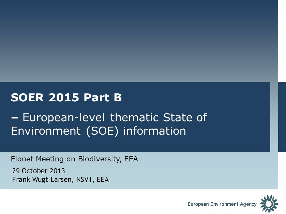 – European-level thematic State of Environment (SOE) information