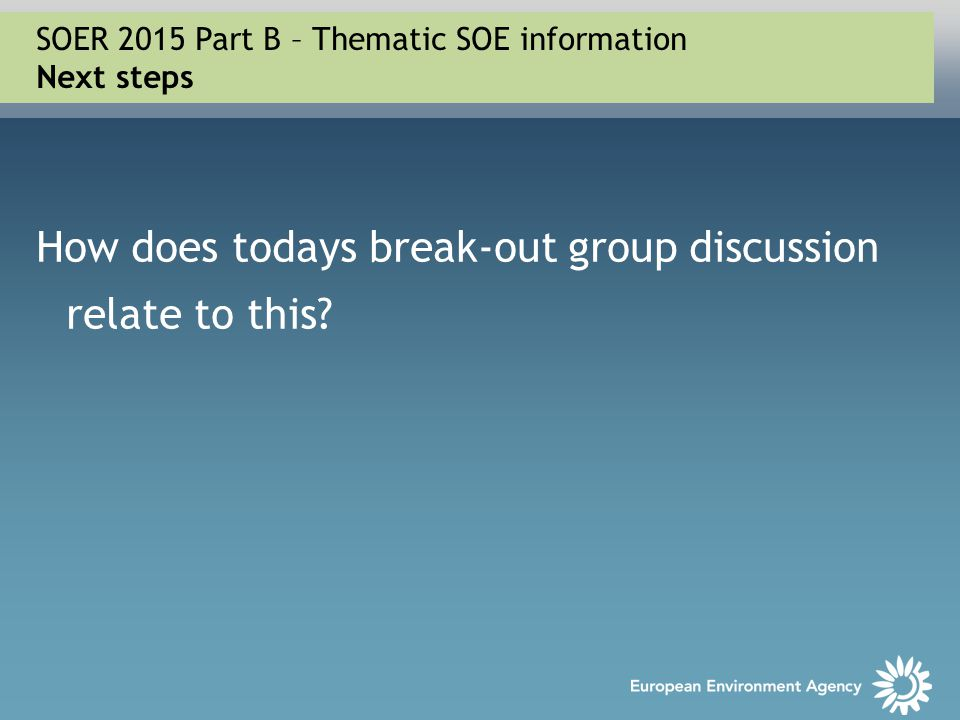 How does todays break-out group discussion relate to this