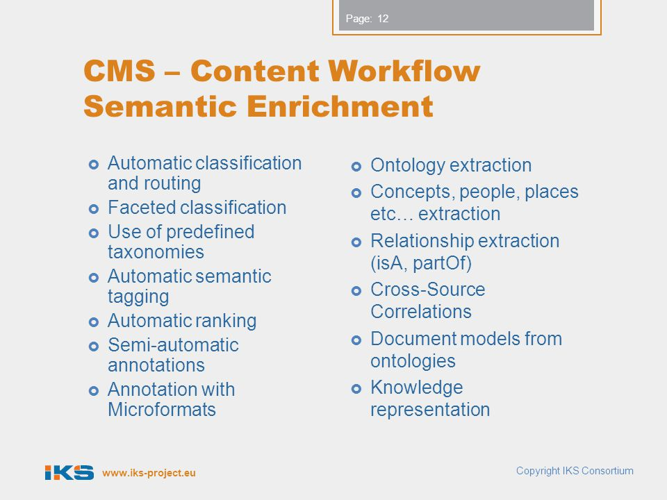 CMS – Content Workflow Semantic Enrichment