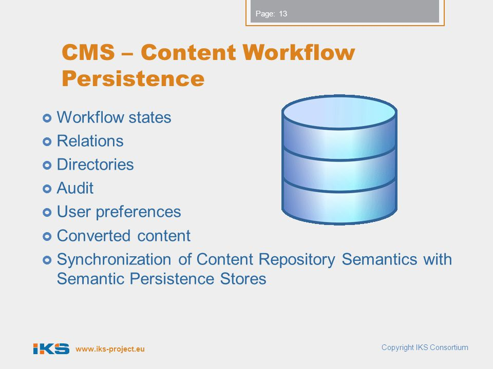 CMS – Content Workflow Persistence
