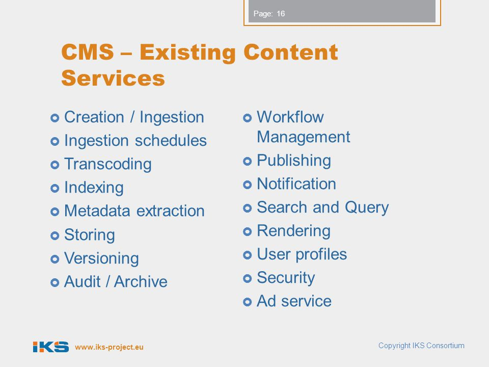 CMS – Existing Content Services