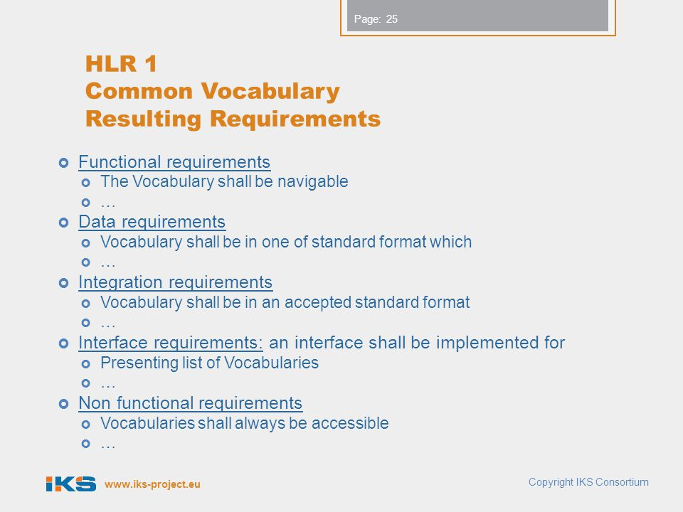 HLR 1 Common Vocabulary Resulting Requirements