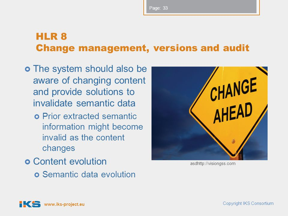 HLR 8 Change management, versions and audit