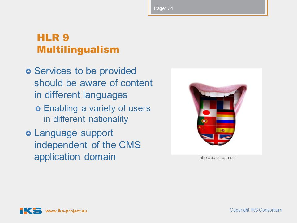 Language support independent of the CMS application domain