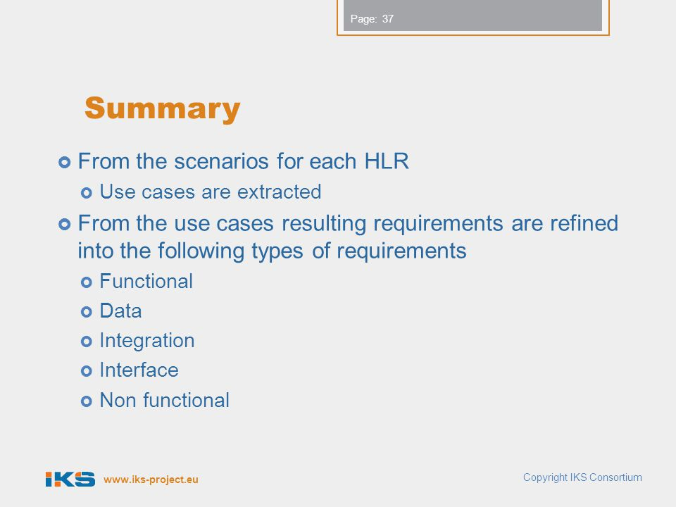 Summary From the scenarios for each HLR