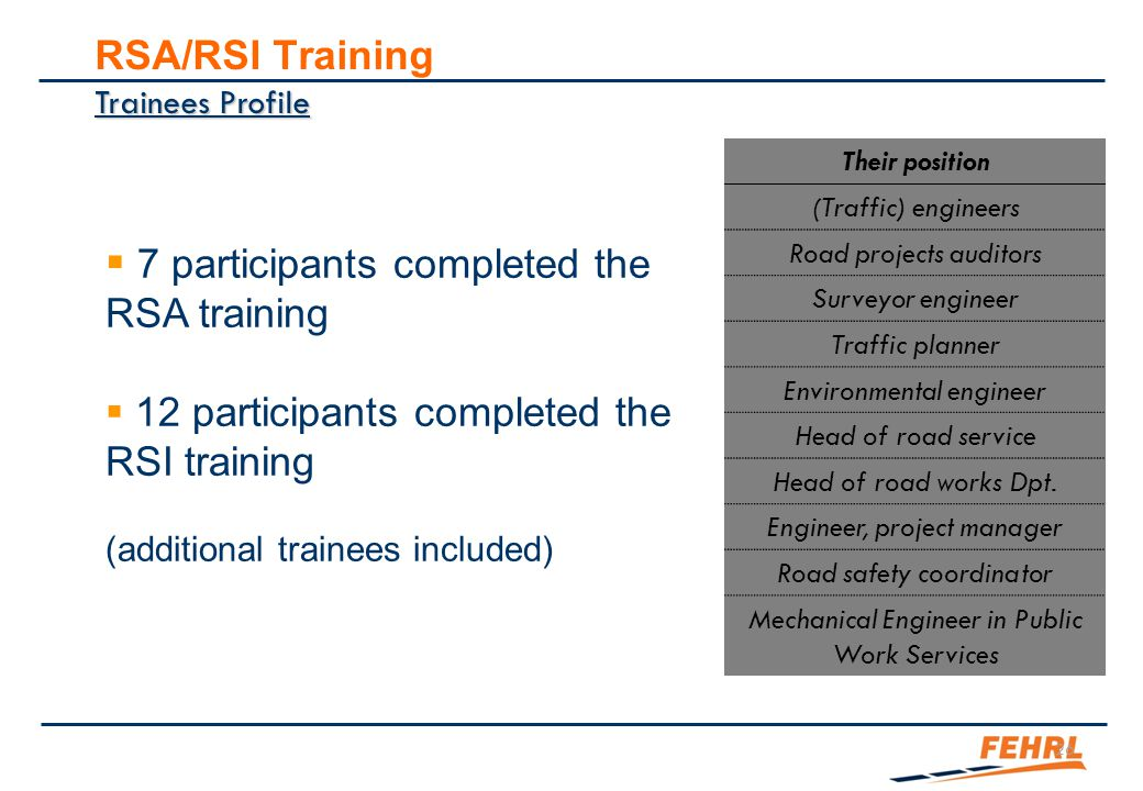 4 parts/modules RSA/RSI training – summary Preliminary part