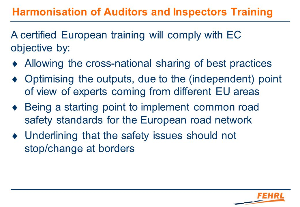 Harmonisation of Auditors and Inspectors Training