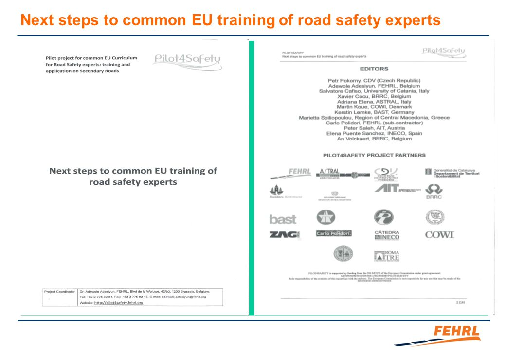 Next steps to common EU training of road safety experts