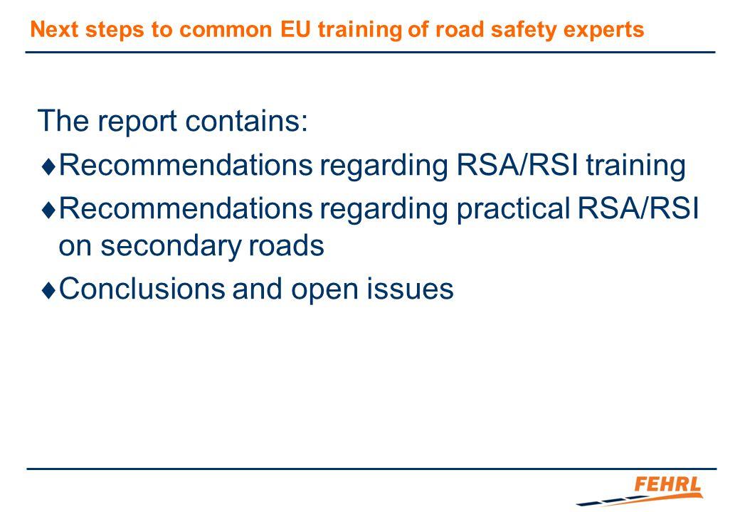 Recommendations regarding RSA/RSI training