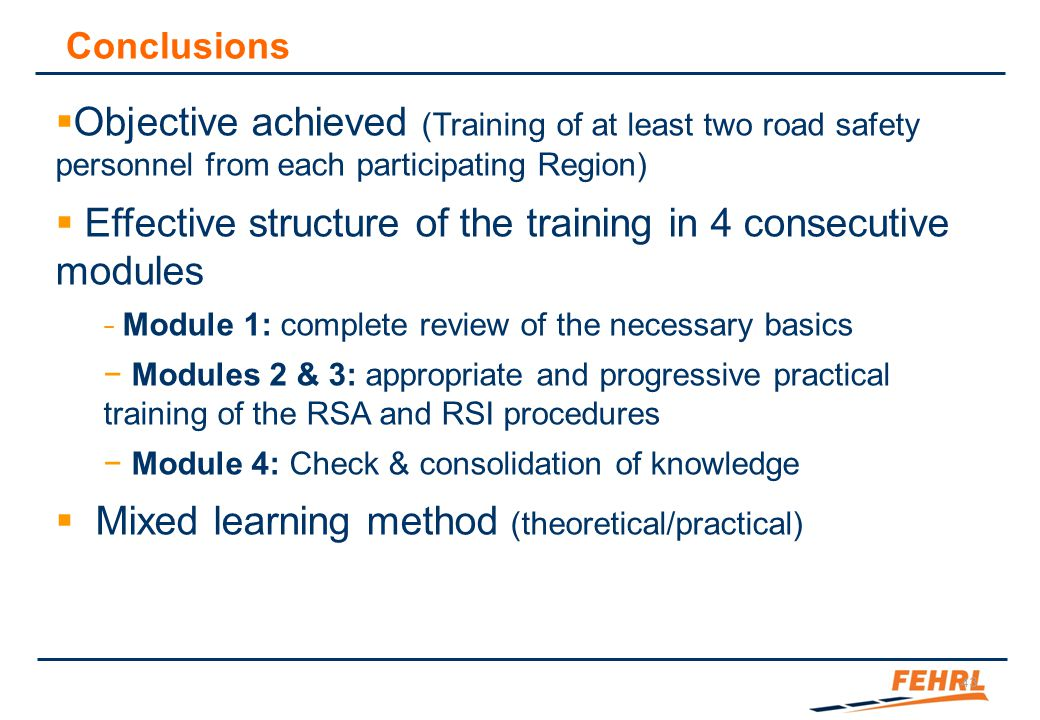 About the interest of a common training at EU level: