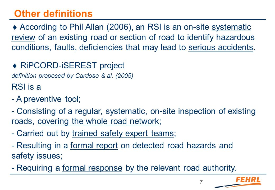 RSA & RSI in the general road safety management framework