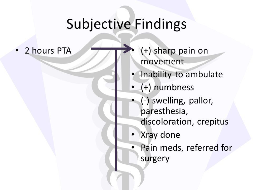 Subjective Findings 2 hours PTA (+) sharp pain on movement