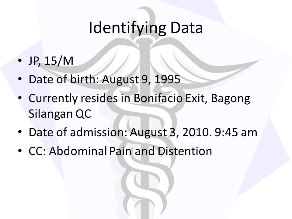 Identifying Data JP, 15/M Date of birth: August 9, 1995