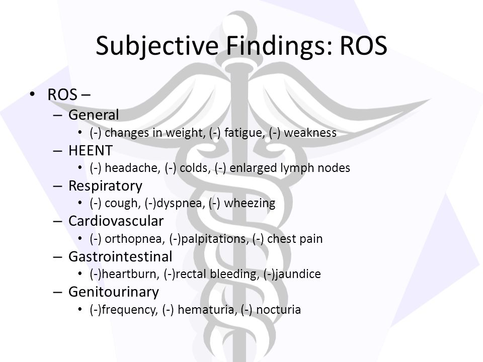 Subjective Findings: ROS