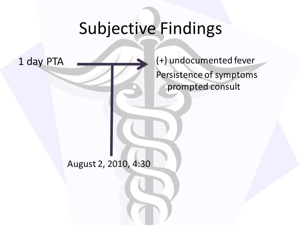 Subjective Findings 1 day PTA
