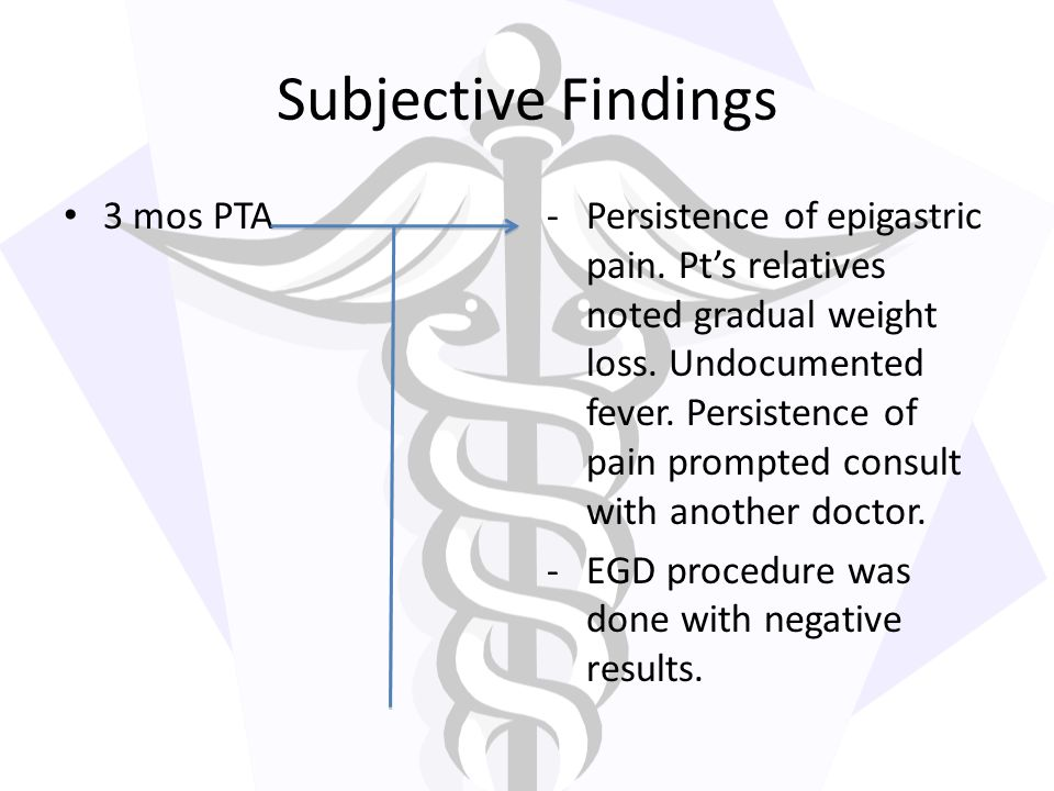 Subjective Findings 3 mos PTA