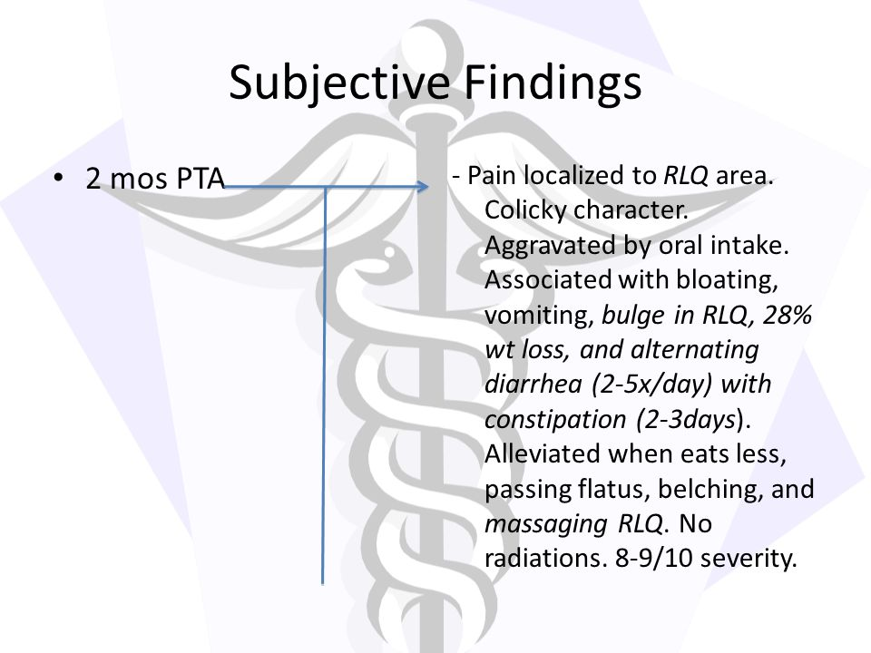 Subjective Findings 2 mos PTA
