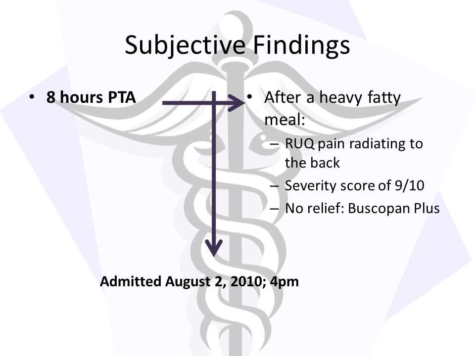 Subjective Findings 8 hours PTA After a heavy fatty meal: