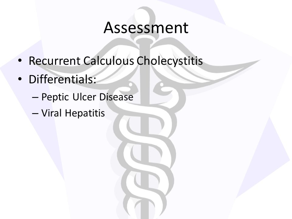 Assessment Recurrent Calculous Cholecystitis Differentials: