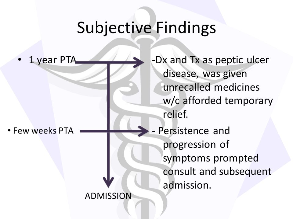 Subjective Findings 1 year PTA
