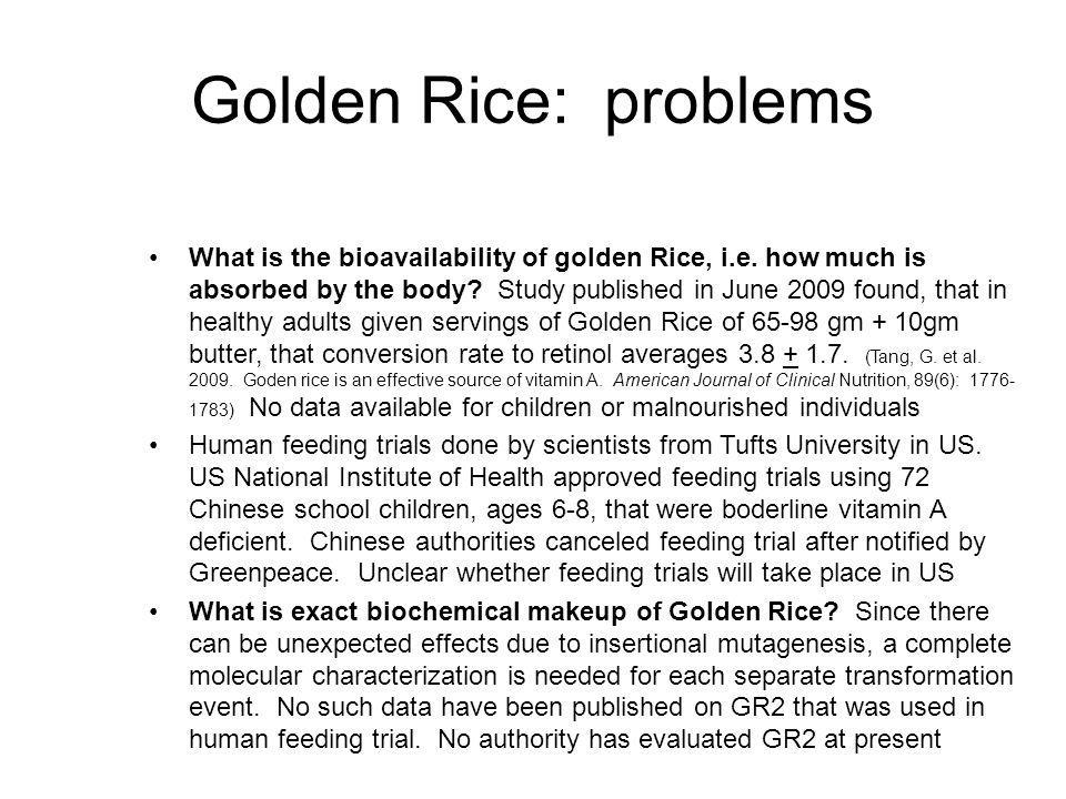 Golden Rice: problems
