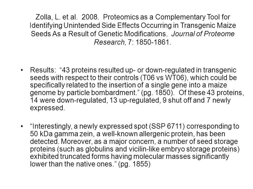 Zolla, L. et al. 2008. Proteomics as a Complementary Tool for Identifying Unintended Side Effects Occurring in Transgenic Maize Seeds As a Result of Genetic Modifications. Journal of Proteome Research, 7: 1850-1861.