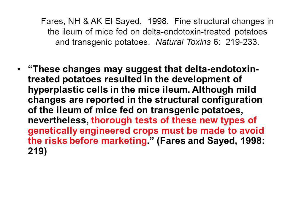Fares, NH & AK El-Sayed. 1998. Fine structural changes in the ileum of mice fed on delta-endotoxin-treated potatoes and transgenic potatoes. Natural Toxins 6: 219-233.