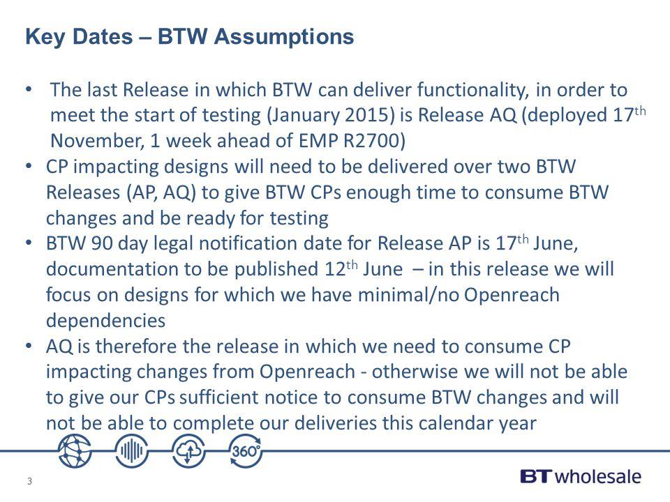 Key Dates – BTW Assumptions