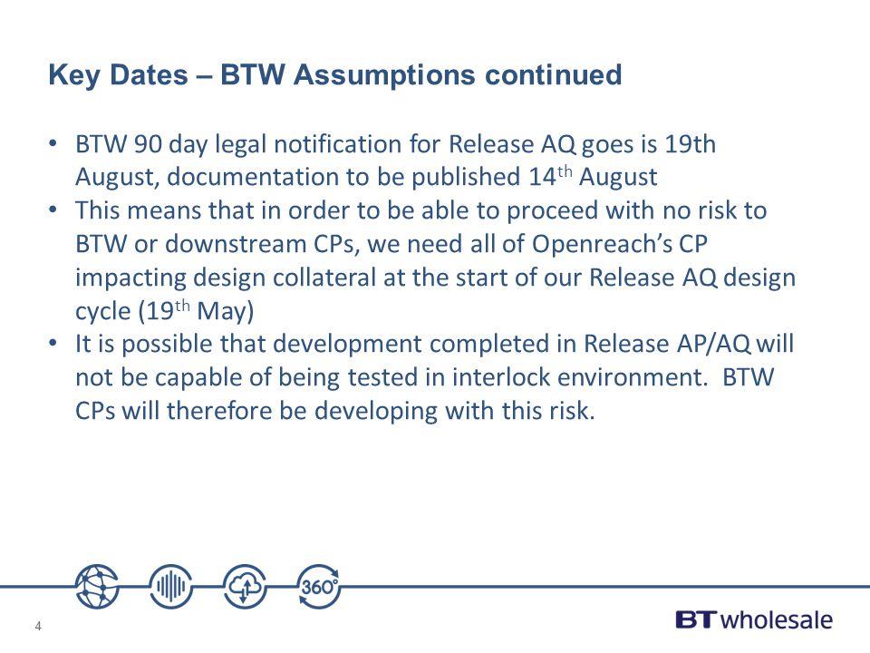 Key Dates – BTW Assumptions continued