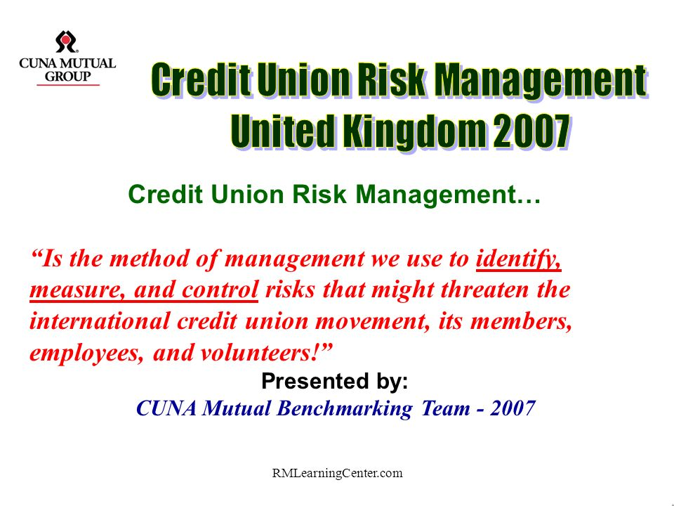 Credit Union Risk Management… CUNA Mutual Benchmarking Team - 2007