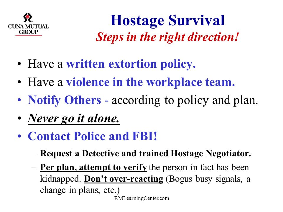Hostage Survival Steps in the right direction!
