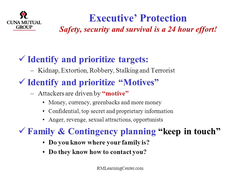 Executive' Protection Safety, security and survival is a 24 hour effort!
