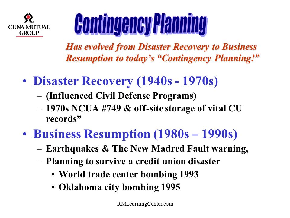 Contingency Planning Disaster Recovery (1940s - 1970s)