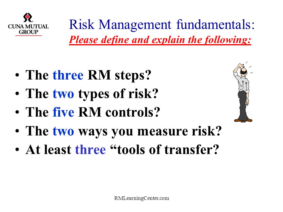 Risk Management fundamentals: Please define and explain the following: