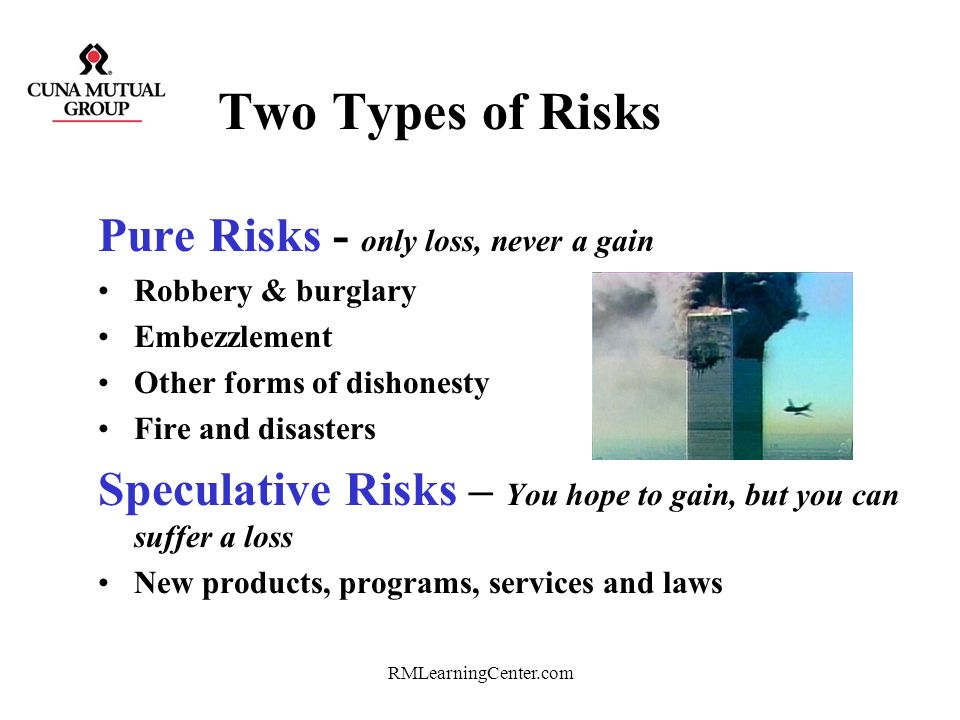 Two Types of Risks Pure Risks - only loss, never a gain