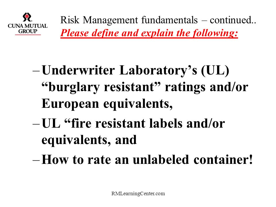 UL fire resistant labels and/or equivalents, and