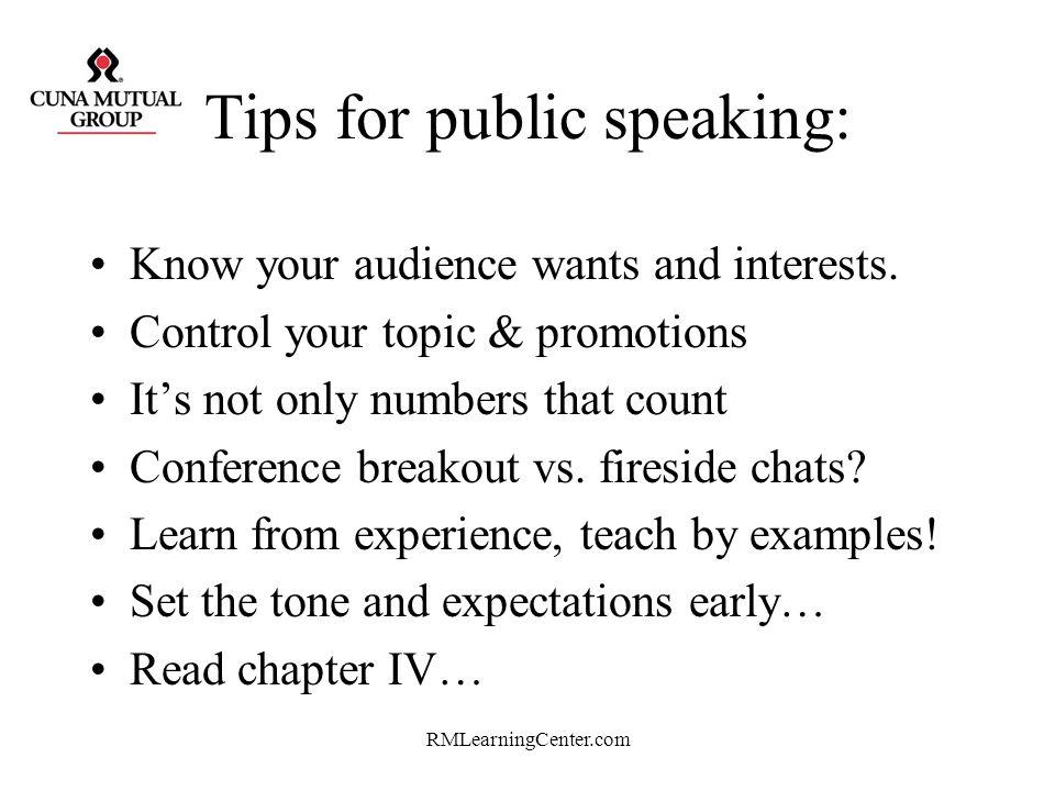 Tips for public speaking: