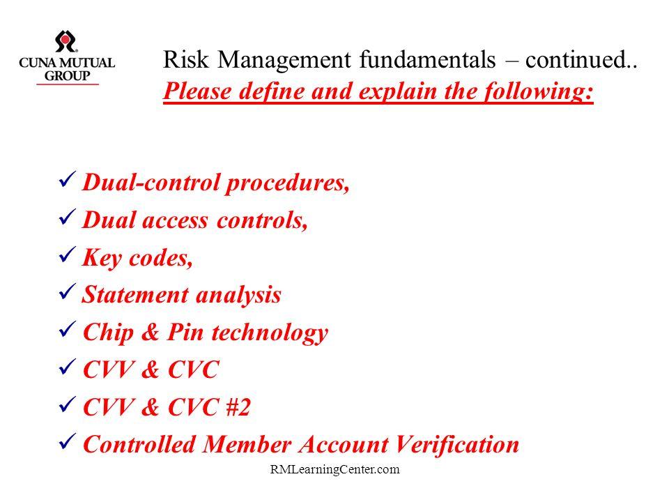 Dual-control procedures, Dual access controls, Key codes,