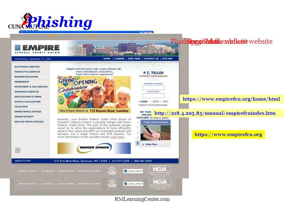Phishing Phishing e-Mail Spoofed fraudulent website Legitimate website