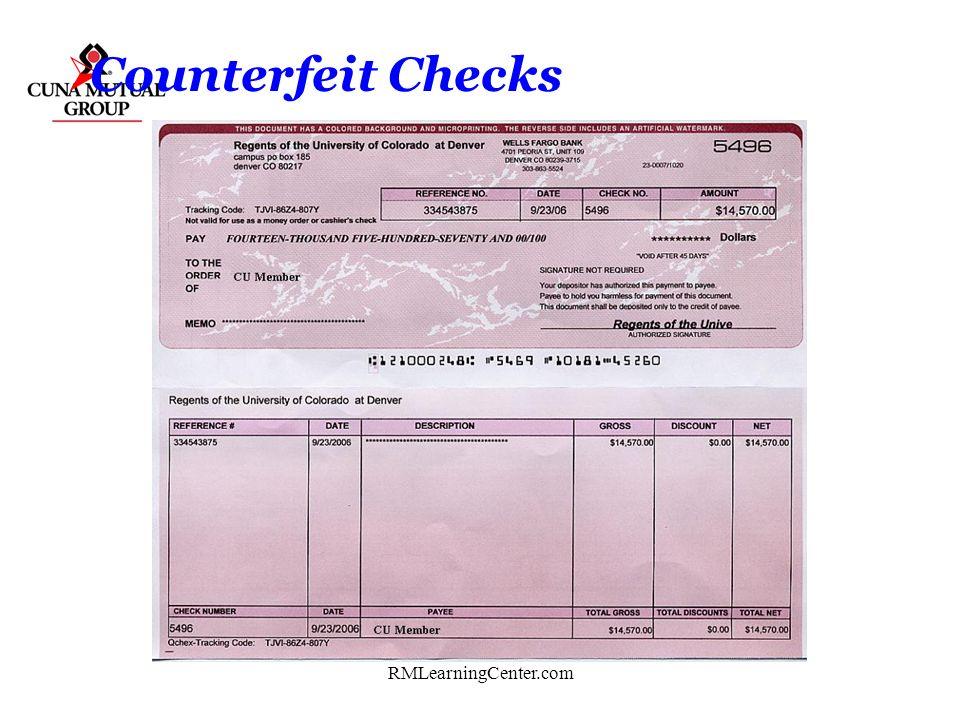 Counterfeit Checks RMLearningCenter.com